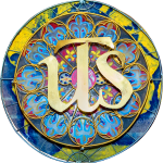 a rainbow colored stained glass medallion from United Theological Seminary